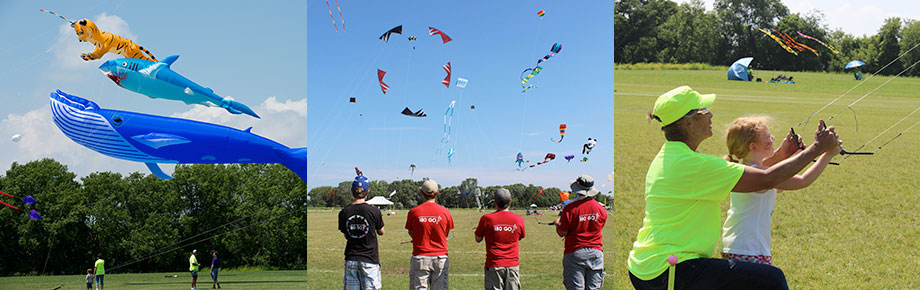 Three images, including two large kites, four people in red t-shirts flying stunt kites, and a dad helping his son fly a kite.