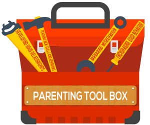 Parenting tool box with yellow tools.