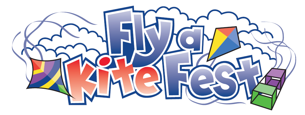 "Text ""Fly a Kite Fest"" with clouds and kites in the background."