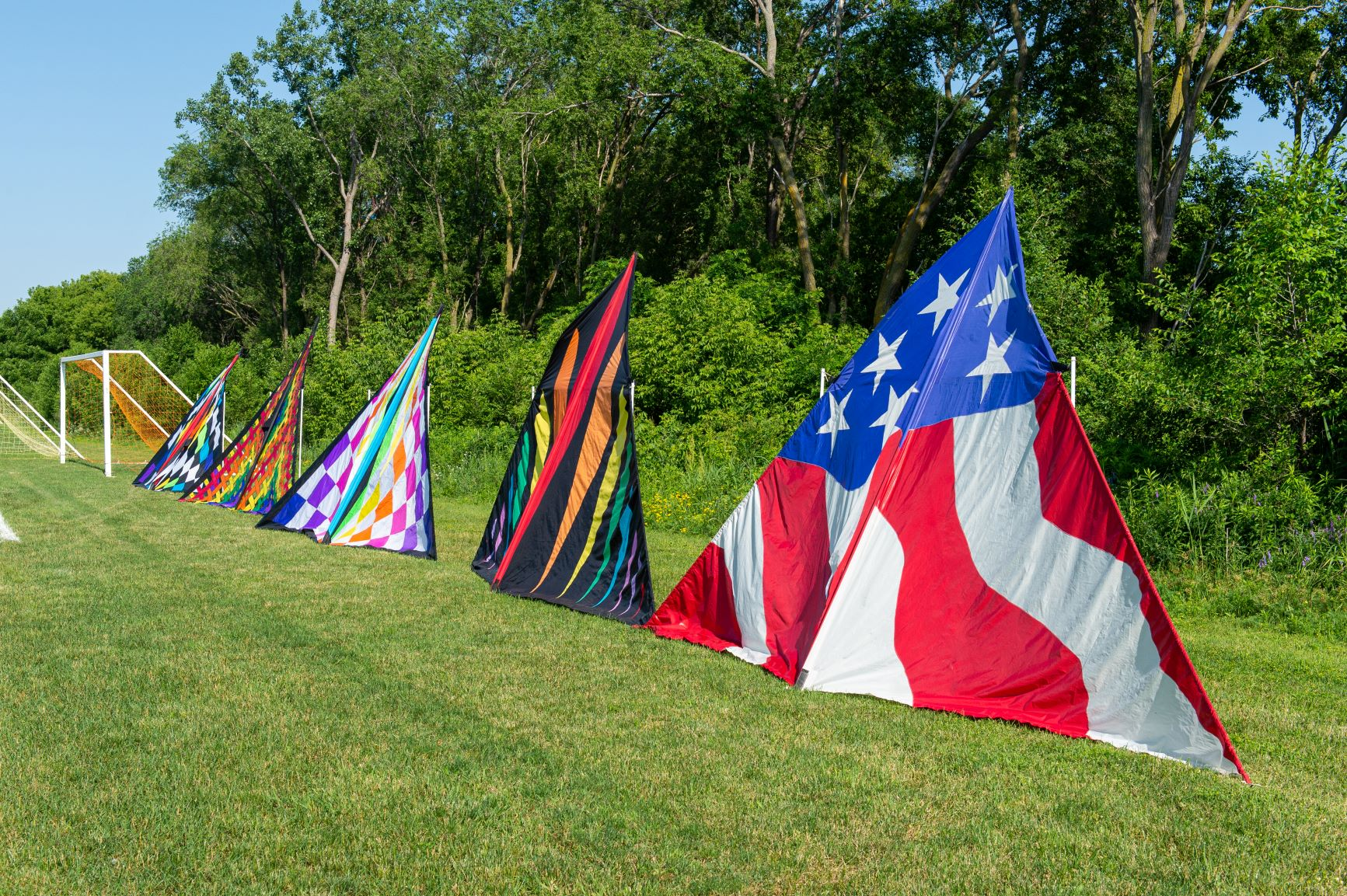 Four large triangle kites laying in green grass.
